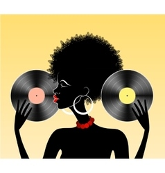African girl with vinyl vector image