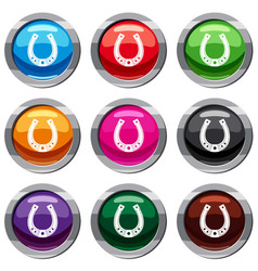 horseshoe set 9 collection vector image
