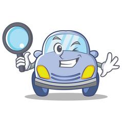 detective cute car character cartoon vector image vector image