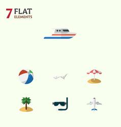 Flat icon season set of aircraft deck chair boat vector