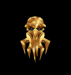 golden octopus in a gas mask icon vector image vector image