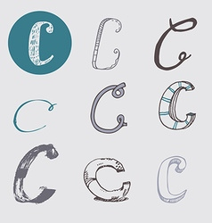 Original letters c set isolated on light gray vector