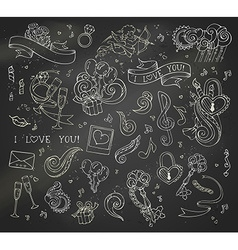 set of chalk love doodles icons on blackboard vector image
