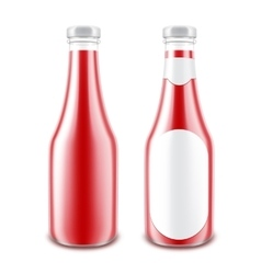 Set of Red Tomato Bottle without with Round Label vector image