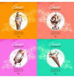 Set of vintage sweet backgrounds vector image vector image