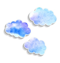Set watercolor clouds isolated on white background vector