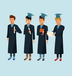 students in robe cartoon vector image