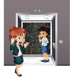 Two girls at the elevator vector image vector image