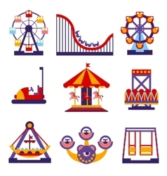 Amusement Park Icons Set of Flat Design vector image vector image