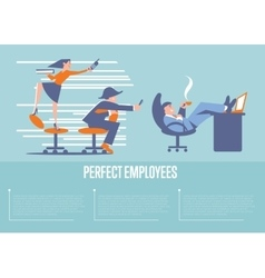 Perfect employees banner with business people vector image vector image