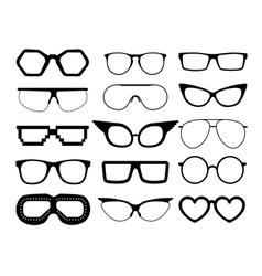 Set of glasses on white background vector image