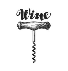Wine corkscrew sketch vector image