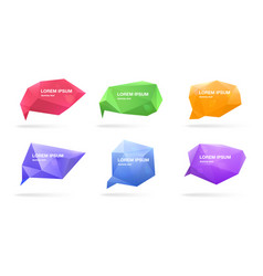 abstract polygonal speech bubbles set 3d figures vector image vector image