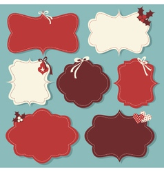 christmas vintage labels vector image vector image