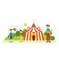clown entertains children around circus vector image