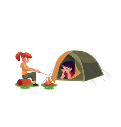 girls frying marshmallow on fire and looking out vector image