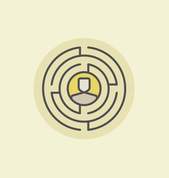 labyrinth with man icon vector image vector image