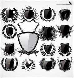 shields and laurel wreath set vector image vector image