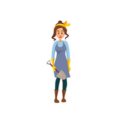 young female farmer standing with shovel gardener vector image