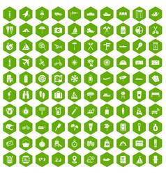 100 journey icons hexagon green vector