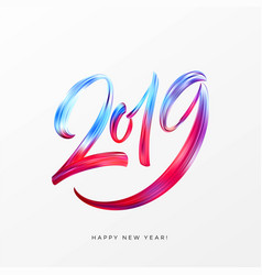 2019 new year of a colorful brushstroke oil or vector