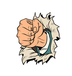 A fist punches the paper vector