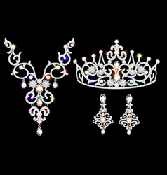 a set brilliant jewelery diadem necklace and vector image