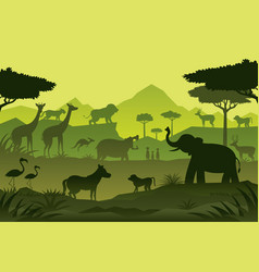 Animals and wildlife green background vector