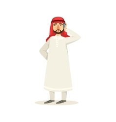 Arabic Muslim Businessman Dressed In Traditional vector