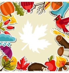 Background design with autumn sticker icons and vector