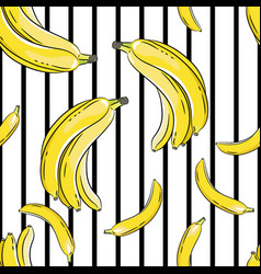 Bananas on black and white background seamless vector