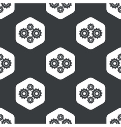 Black hexagon cogs pattern vector
