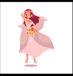 Bride dancing happily isolated vector