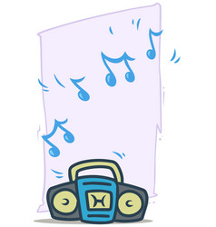 cartoon blue working tape recorder icon vector image