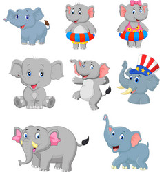 cartoon elephants collection set vector image