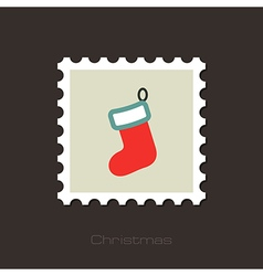 Christmas socks flat stamp vector image