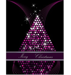 Christmas tree pink and silver vector image