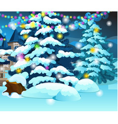 christmas tree with glowing garlands on vector image