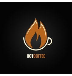 Coffee cup hot fire concept background vector