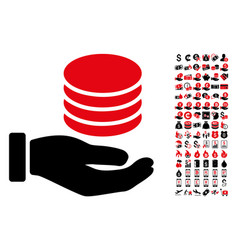 coins donation hand icon with 90 bonus pictograms vector image