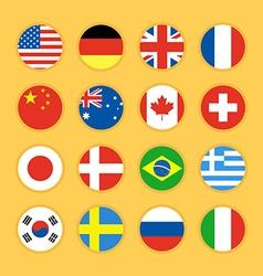 collection circle flag icon flat design vector image