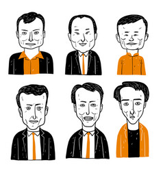 collection of diverse hand drawn faces vector image