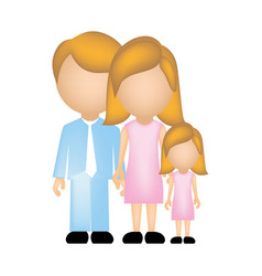 Color silhouette faceless with dad mom and vector