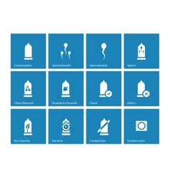 Condom pack icons on blue background vector image