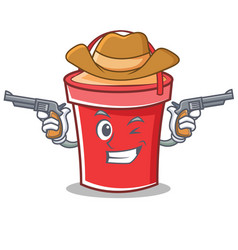Cowboy bucket character cartoon style vector