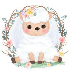 cute animal in watercolor vector image