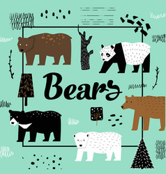 cute bears hand drawn design childish background vector image