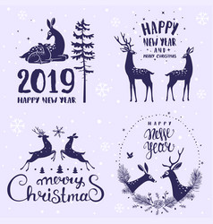 deer set vector image
