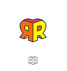 Double r logo two letters volume figure building vector