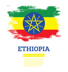 ethiopia flag with brush strokes independence day vector image